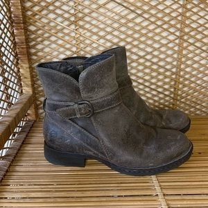 Born taupe distressed leather bootie